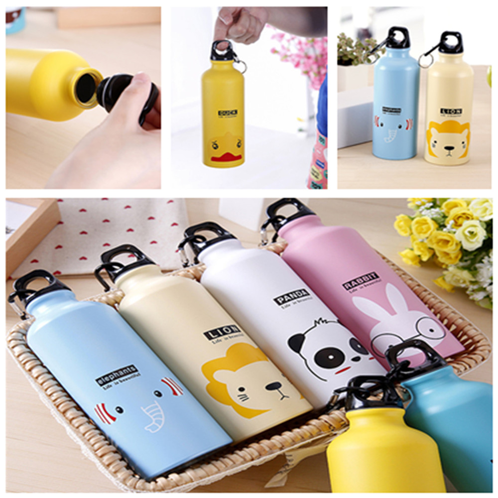 Kids Gift Portable Water Bottle Cute Animal Pattern Bottle Cup Outdoor Sport Hiking Climping Drinking Bottle with Hooker 500ml