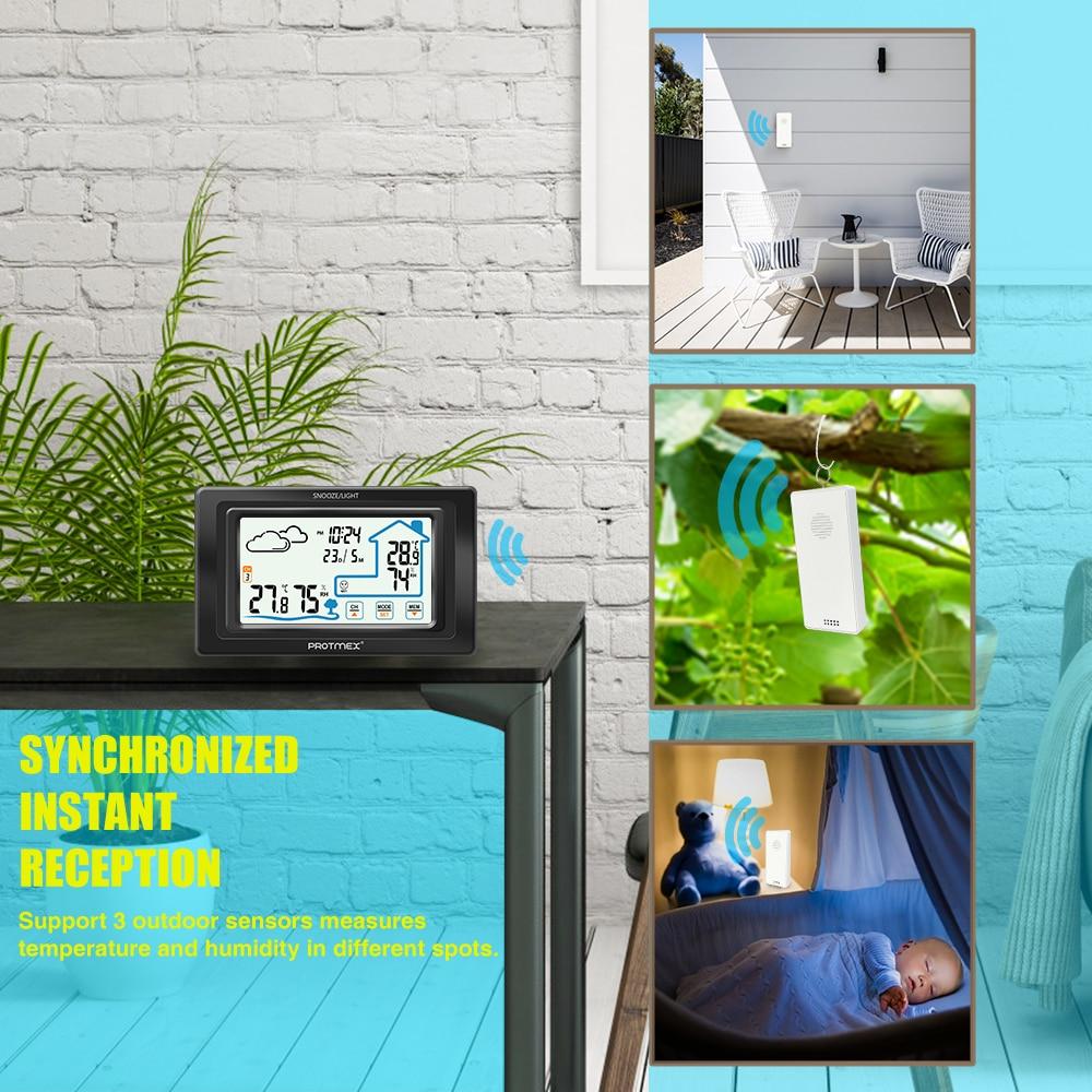 Protmex PT19A Schermo a Colori Stazione Meteo Sensore Termometro Igrometro Meter Digital Previsioni Sensore Interni Esterni Casa