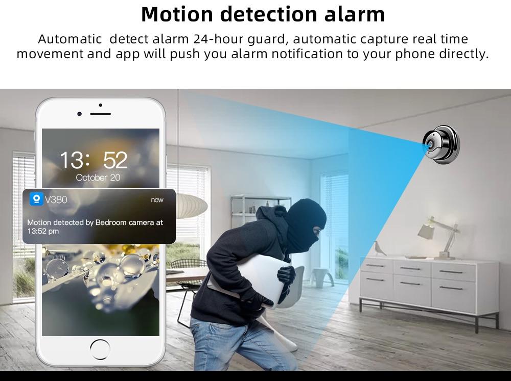 Wireless Mini telecamera di Sicurezza Domestica Sorveglianza Visione Notturna Speaker e  Baby Monitor con sensore di movimento