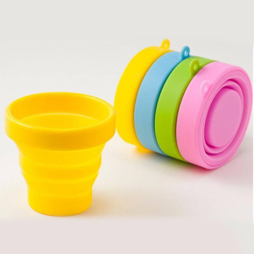 NEW Portable Silicone Retractable Folding Cup with Lid Outdoor Telescopic Collapsible Drinking Cup Travel Camping water cup